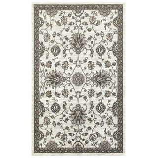 L and R Home Adana White and Brown Olefin Indoor Accent Rug (1'10 x 3'1)