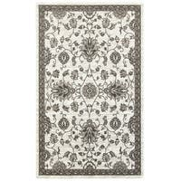 LR Home Adana White and Brown Olefin Indoor Accent Rug (1'10 x 3'1) - 1'10 x 3'1