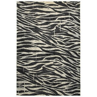 LR Home Adana White and Anthracite Olefin Indoor Accent Rug - 1'10 x 3'1