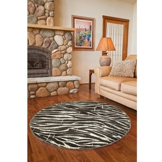 L and R Home Adana White and Beige Olefin Indoor Round Rug (4' x 4')