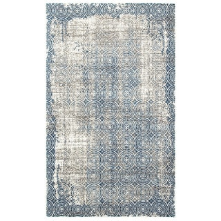 L and R Home Adana White/Spa Blue Olefin Indoor Accent Rug (1'10 x 3'1)