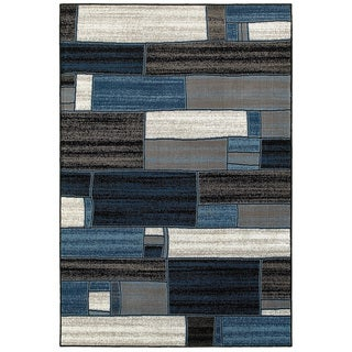 L and R Home Adana Charcoal/Blue Indoor Accent Rug (1'10 x 3'1)