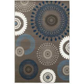 L and R Home Adana Charcoal/Blue Olefin Indoor Accent Rug (1'10 x 3'1)