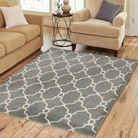 LR Home 'Adana' Grey Olefin Indoor Area Rug - 9'2 x 12'6