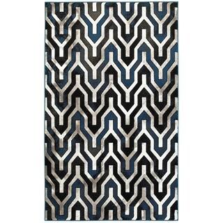 LR Home Adana Black/White Olefin Indoor Accent Rug - 1'10 x 3'1