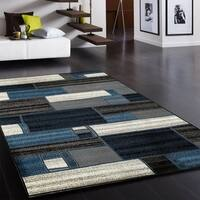 L and R Home Adana Charcoal/Blue Olefin Indoor Area Rug - 9'2 x 12'6