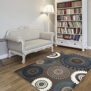 L and R Home Adana Charcoal and Blue Olefin Indoor Area Rug - 9'2 x 12'6