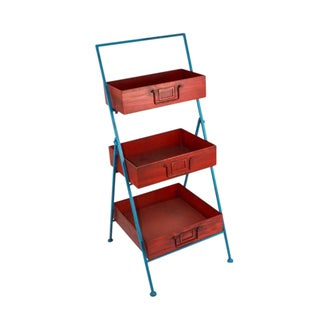 Sagebrook Home-3 Tier Tray Stand, Red / Blue, Kd