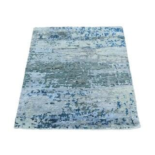1800getarug Handmade High And Low Pile Abstract Design Wool And Bamboo Silk Rug (2'0x3'0)