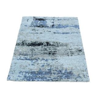 "1800getarug High and Low Pile Abstract Design Wool And Bamboo Silk Handmade Rug (2'0""x3'0"")"