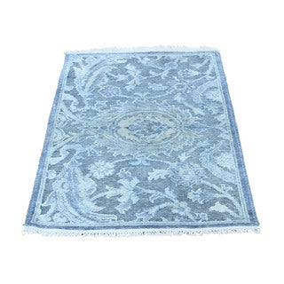 1800getarug Abstract Design Pure Silk with Oxidized Wool Hand-Knotted Rug (2'0x2'10)