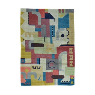 1800getarug Modern Nepali Pure Wool Abstract Design Hand-Knotted Oriental Rug (4'3x6'0)