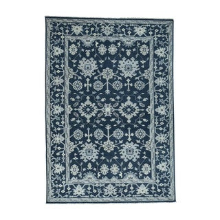 1800getarug Handmade Turkish Knot Oushak Cropped Thin Pure Wool Rug (6'2x8'10)