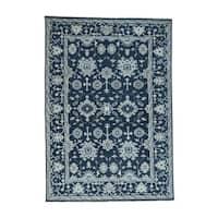 Shahbanu Rugs Handmade Turkish Knot Oushak Cropped Thin Pure Wool Rug (6'2x8'10)