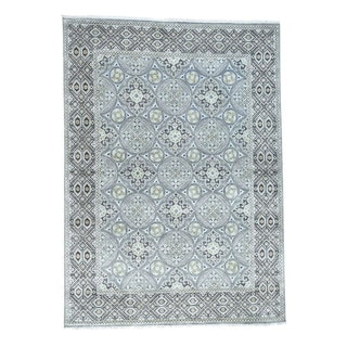 1800getarug High And Low Pile Oxidized Wool With Viscose from Bamboo Silk Hand-Knotted Rug (10' x 14')