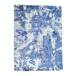 1800getarug High And Low Pile Abstract Design Wool And Bamboo Silk Rug (9'0x12'0)