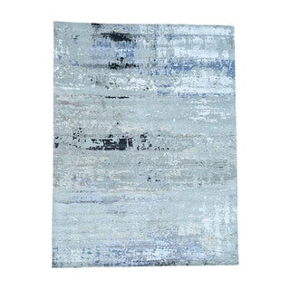 1800getarug High And Low Pile Abstract Design Wool And Bamboo Silk Rug (10'0x13'8)