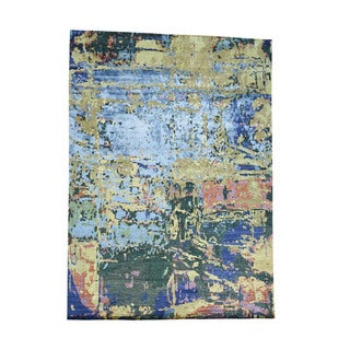 1800getarug Hand-Knotted Abstract Design Wool And Bamboo Silk Oriental Rug (10'1x13'8)