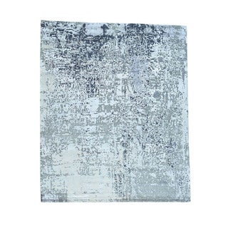 1800getarug Hand-Knotted Abstract Design Wool And Bamboo Silk Oriental Rug (9'0x11'6)