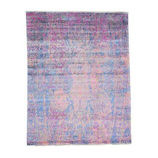 1800getarug Wool And Silk Modern Abstract Design Handmade Oriental Rug (7'7x9'10)
