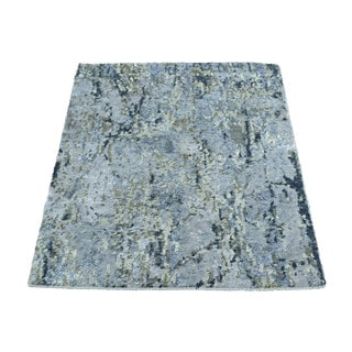 1800getarug High And Low Pile Abstract Design Wool And Bamboo Silk Handmade Rug (2'0x3'0)