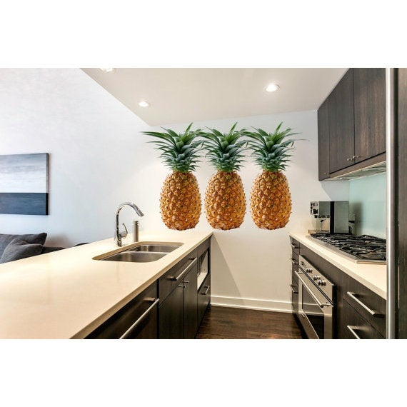 Full Color Pineapple Full Color Decal, Pineapple Full color sticker, wall art Sticker Decal size 33x45
