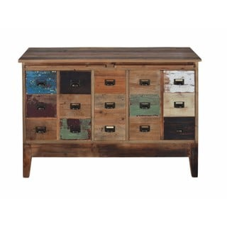 Reclaimed Rustic Antique Finish Drawer Cabinet