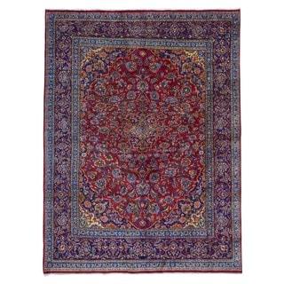 Fine Rug Collection, semi-antique Handmade Kashan Red Wool Oriental Rug (8'2 x 10'8)