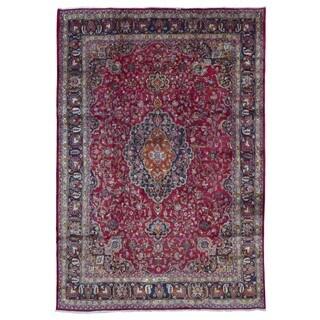 Fine Rug Collection, semi-antique Handmade Mashad Red Wool Oriental Rug (9'6 x 13'6)