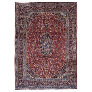 Fine Rug Collection Semi-antique Handmade Kashan Red Wool Oriental Rug (9'3 x 13')
