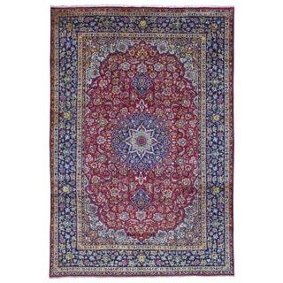 Fine Rug Collection, semi-antique Handmade Isfahan Blue Wool Oriental Rug (9'7 x 13'8)