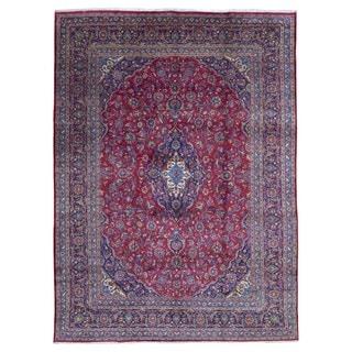Fine Rug Collection, semi-antique Handmade Kashan Blue Wool Oriental Rug (9'9 x 13')