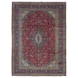 Fine Rug Collection, semi-antique Handmade Kashan Navy Wool Oriental Rug (9'10 x 13'1)