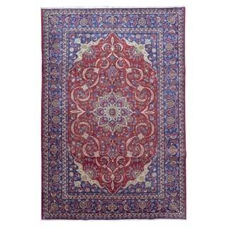 Fine Rug Collection, semi-antique Handmade Very Fine Tabriz Blue Wool Oriental Rug (9'6 x 14')
