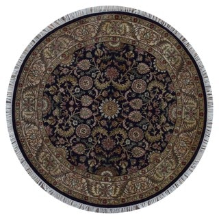 Fine Rug Collection Handmade Very Fine Tabriz Black Wool Oriental Round Rug (5'7 x 5'7)