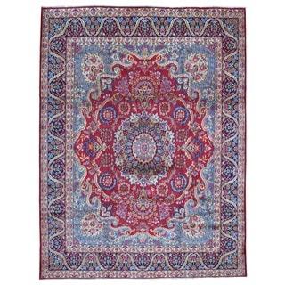 Fine Rug Collection, semi-antique Handmade Kerman Red Wool Oriental Rug (9'7 x 12'6)