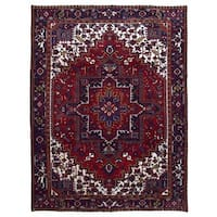 FineRugCollection, semi-antique Handmade Heriz Red Wool Oriental Rug (9' x 11'5)