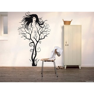 Full Color Tree Girl Sexy Wall Art Vinyl Decal Sticker Sticker Decal size 22x35