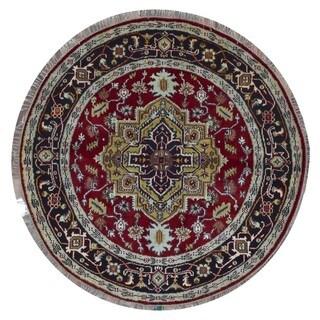 Fine Rug Collection Handmade Serapi Black Wool Oriental Round Rug (5'7 x 5'7)