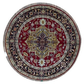 FineRugCollection Handmade Serapi Black Wool Oriental Round Rug (5'7 x 5'7)