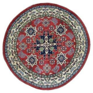 Fine Rug Collection Semi-antique Handmade Kazak Beige Wool Oriental Round Rug (6'5 x 6'5)