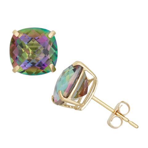 Gioelli 14k Yellow Gold Cushion-cut Created Opal Stud Earrings