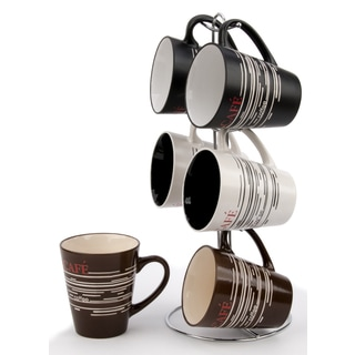 Wee's Beyond Stoneware 12-ounce V-shape Mugs With Stand (Pack of 6)