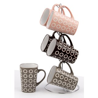 Wee's Beyond Stoneware Geometric Pattern 11-ounce Mug with Stand (Set of 6)