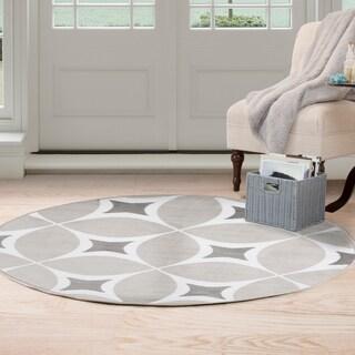 Windsor Home Geometric Area Rug - Grey & White - 5' Round