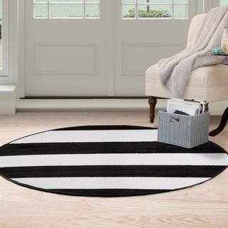 Windsor Home Breton Stripe Area Rug - Black & White - 5' Round