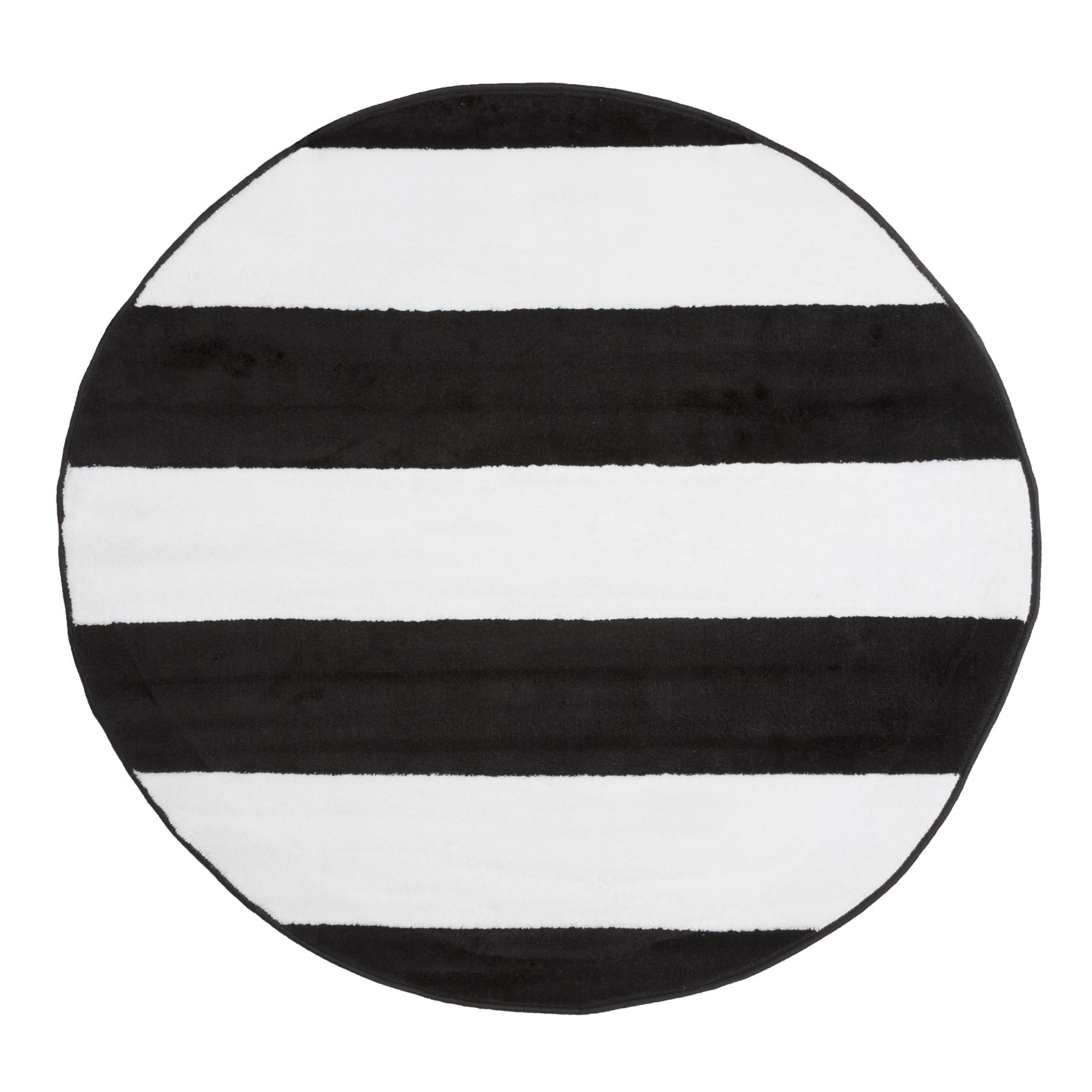 Windsor Home Breton Stripe Area Rug Black White 5 Round