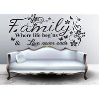 Full Color Family Quote Wall Art Vinyl Decals Stickers Quotes Sticker Decal size 44x70