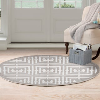 Windsor Home Athens Area Rug - Grey & White - 5' Round