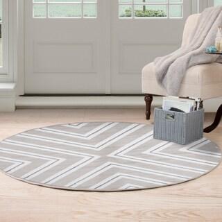 Windsor Home Kaleidoscope Area Rug - Grey & White - 5' Round